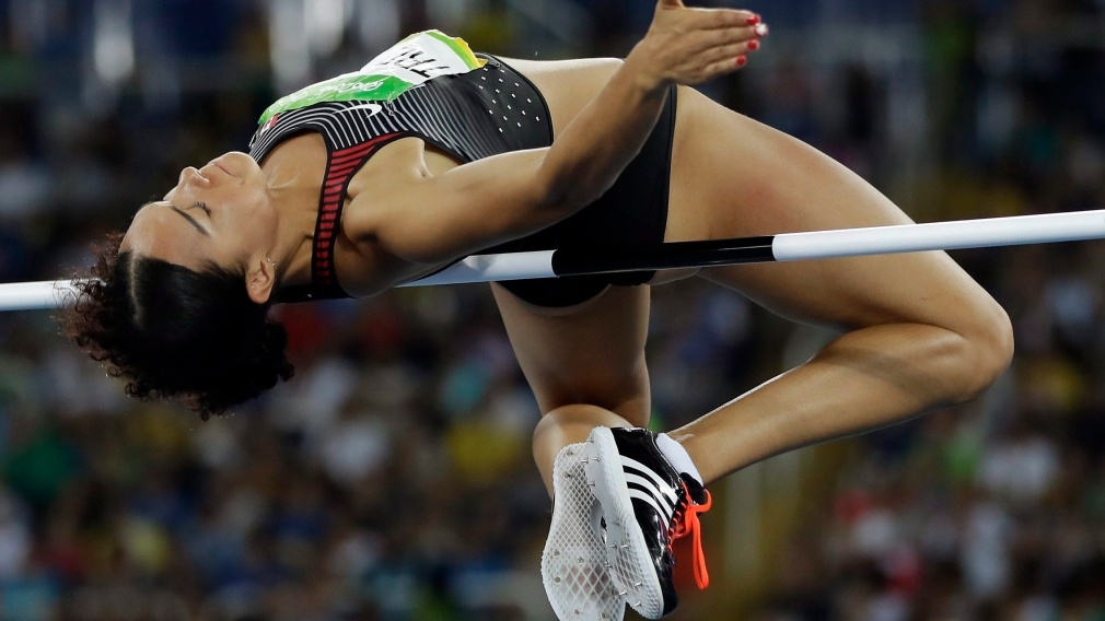 Canada's Alyxandria Treasure competes in the women's high jump