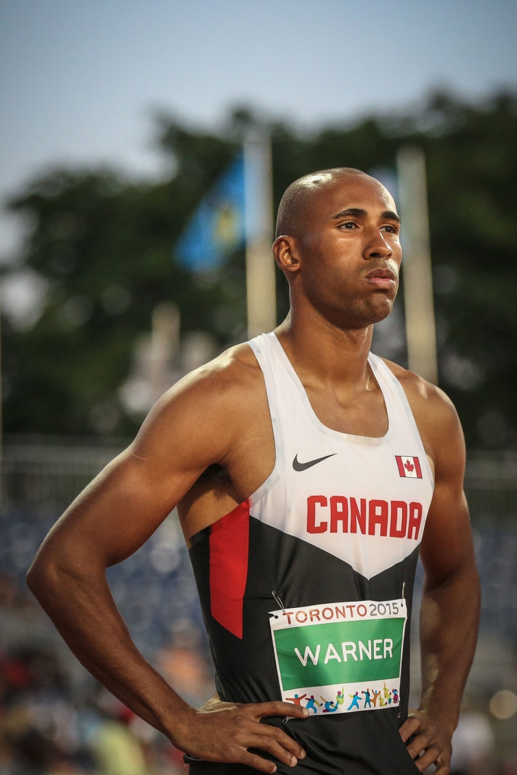 Damian Warner stands ready at the start of the Pan Am Games decathlon 1500m on July 23, 2015.