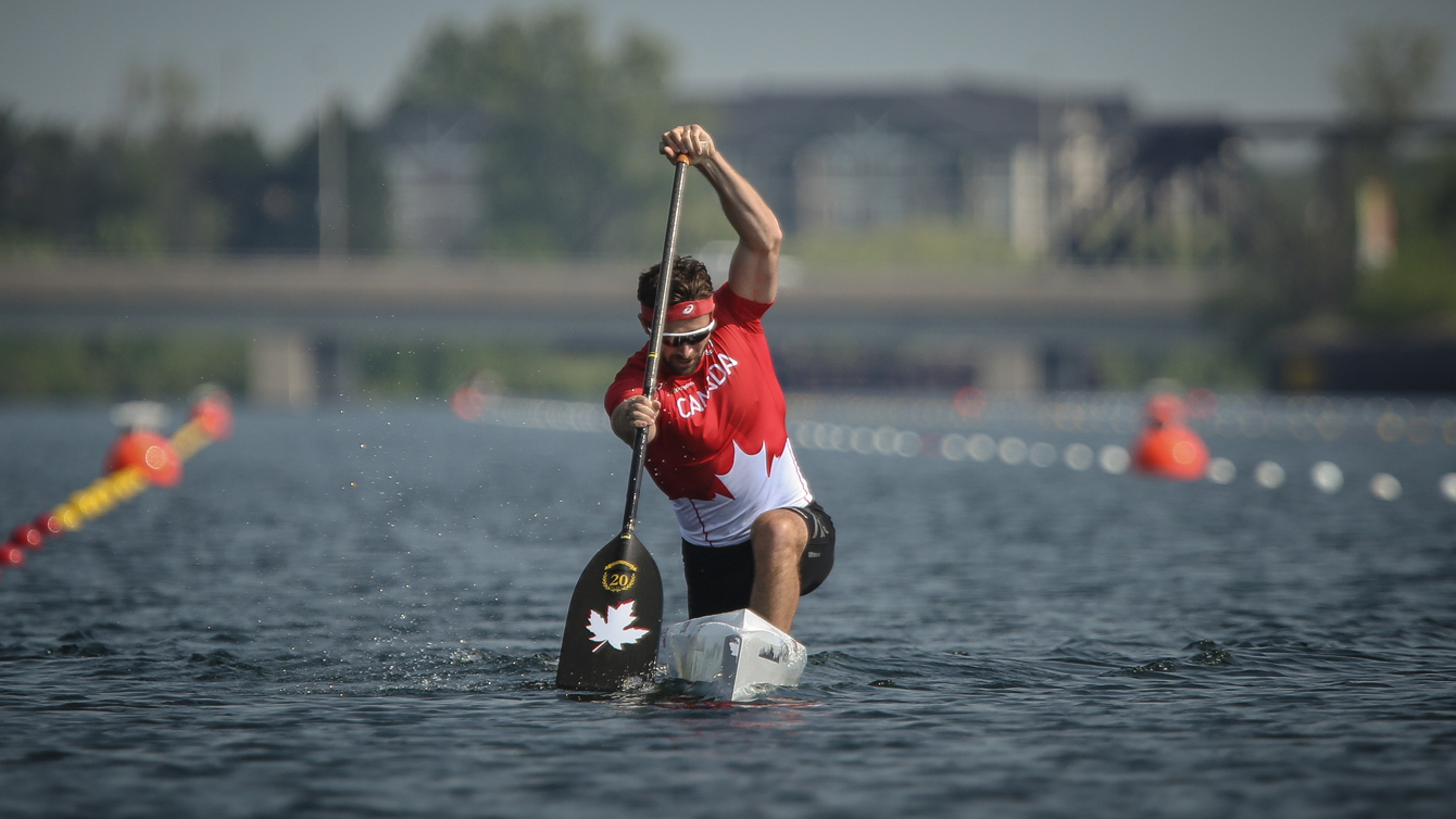 Mark Oldershaw competes at the Canoe/Kayak Centre in Welland, Ontario (Alexandra Fernando for COC).