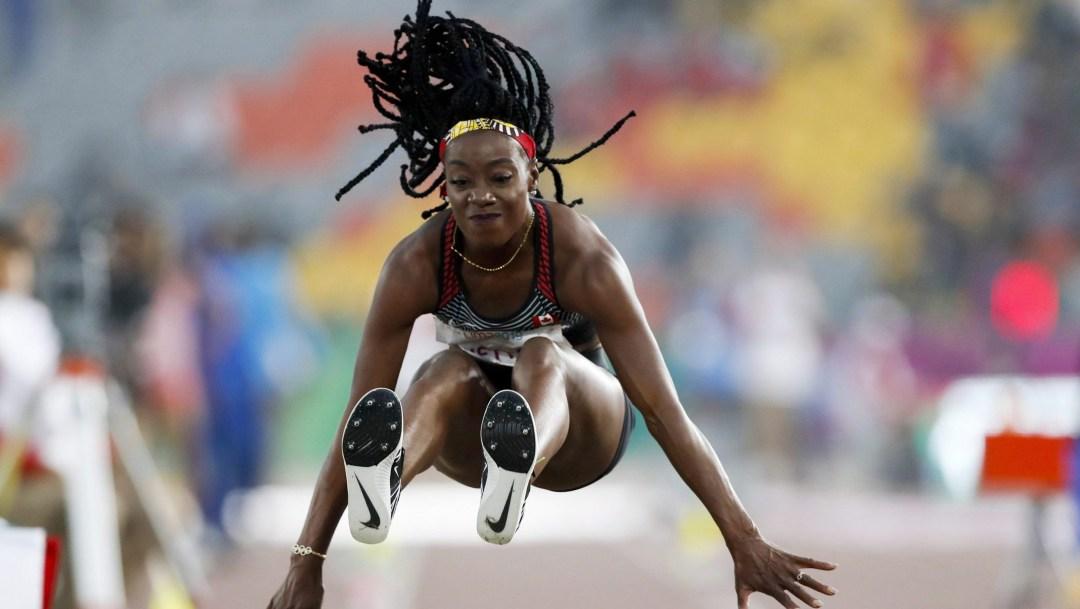 Long jumper flying through air
