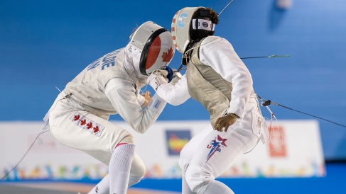 Eleanor Harvey competes in team foil fencing