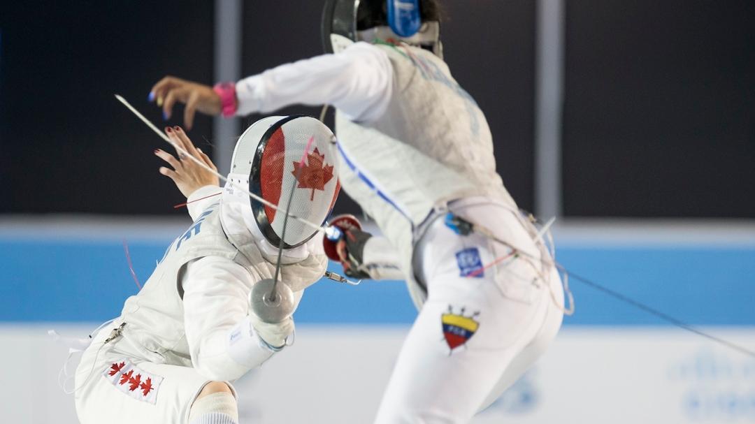 Alanna Goldie, Canada, fences Saskia Loretta Van Erven Garcia in the semi-final match at in the Women's Foil even