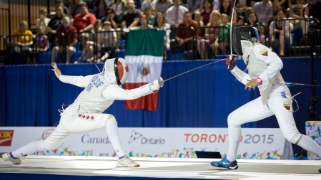Alanna Goldie, Canada, fences Saskia Loretta Van Erven Garcia in the semi-final match at in the Women's Foil even