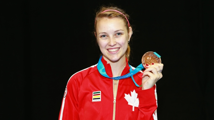 Alanna Goldie with her bronze medal