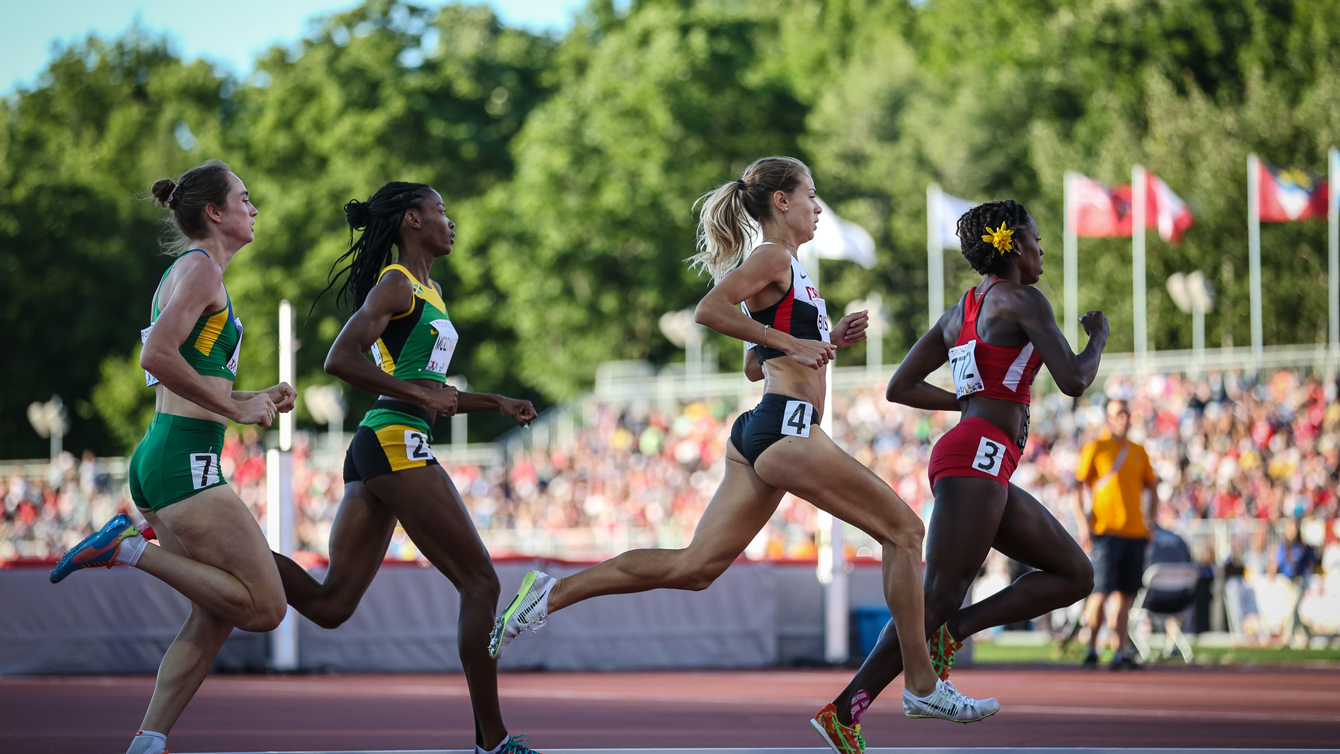 Melissa Bishop (4) stalks Alysia Montano of USA in the 800m before outpacing her for Pan Am Games gold on July 22, 2015 in Toronto.