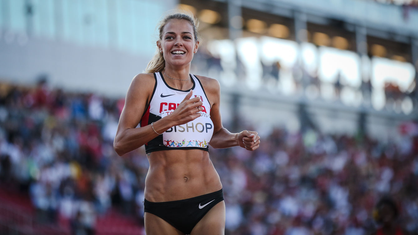 Melissa Bishop following her 800m Pan Am Games victory on July 22, 2015 in Toronto.