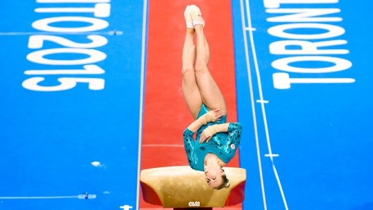 Ellie Black performs the vault during her gold medal performance at the Pan Am Games on July 13, 2015.