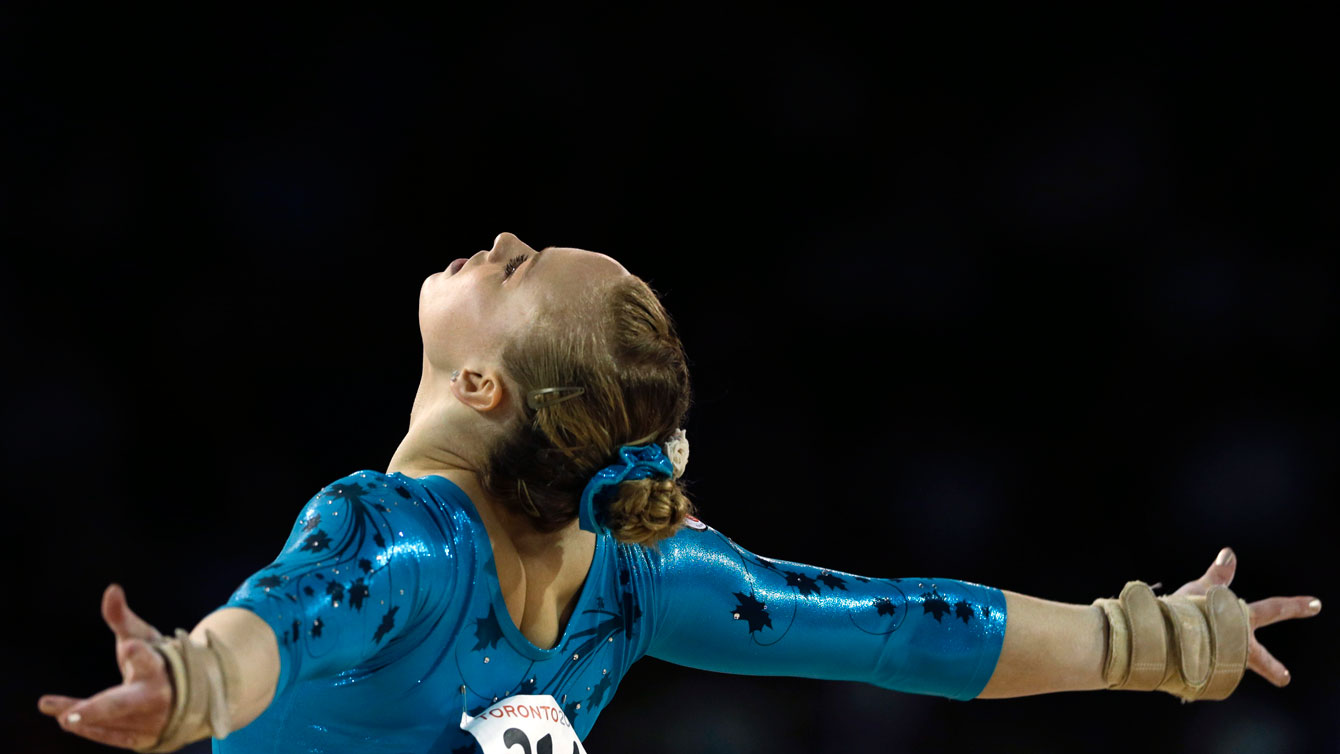 Ellie Black performs in the floor exercise on way to Pan Am Games gold on July 13, 2015.
