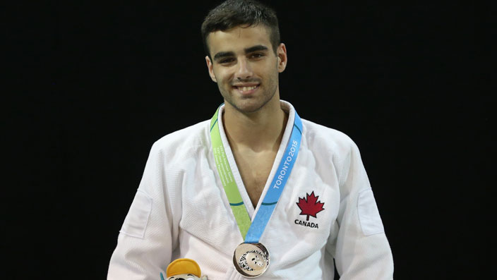 Antoine Bouchard with his silver medal in Pan Am Games judo on July 12, 2015.