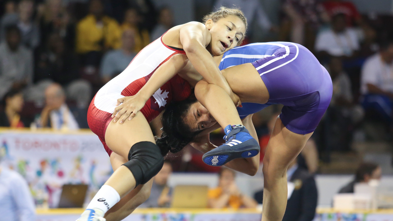 Braxton Stone-Papadopoulous wrestles to victory during the Pan Am Games on July 17, 2015.
