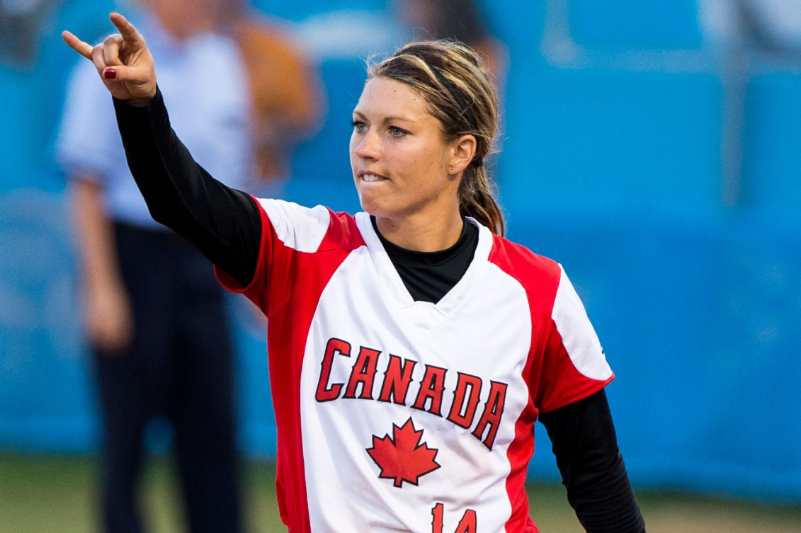Canada's Megan Timpf helped lead the women's softball team to a 7-4 semifinal victory over Puerto Rico on Day 15 at Toronto 2015.