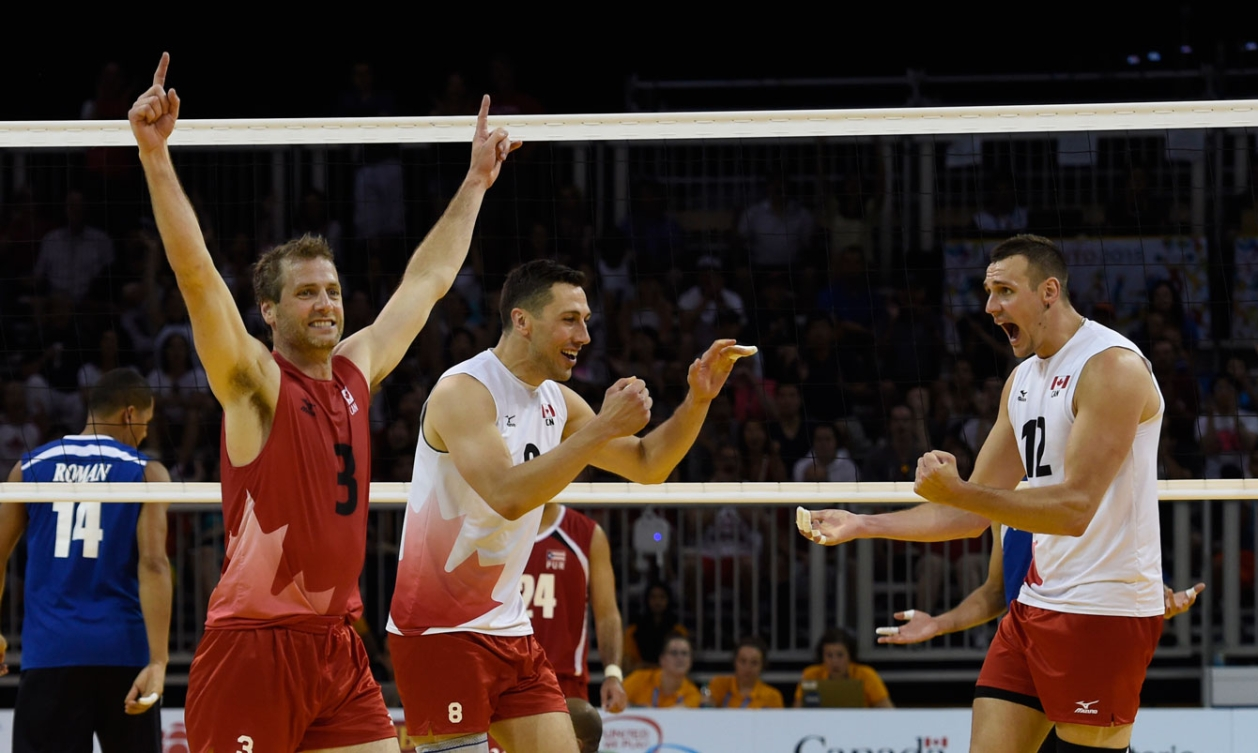 Canada's men defeated Puerto Rico 3-1 to win TO2015 indoor volleyball bronze on Day 16.