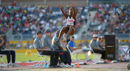 Christabel Nettey competing