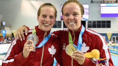 Kierra Smith (right) gold medallist and Martha McCabe (left) silver medallist in the women's 200m breaststroke.
