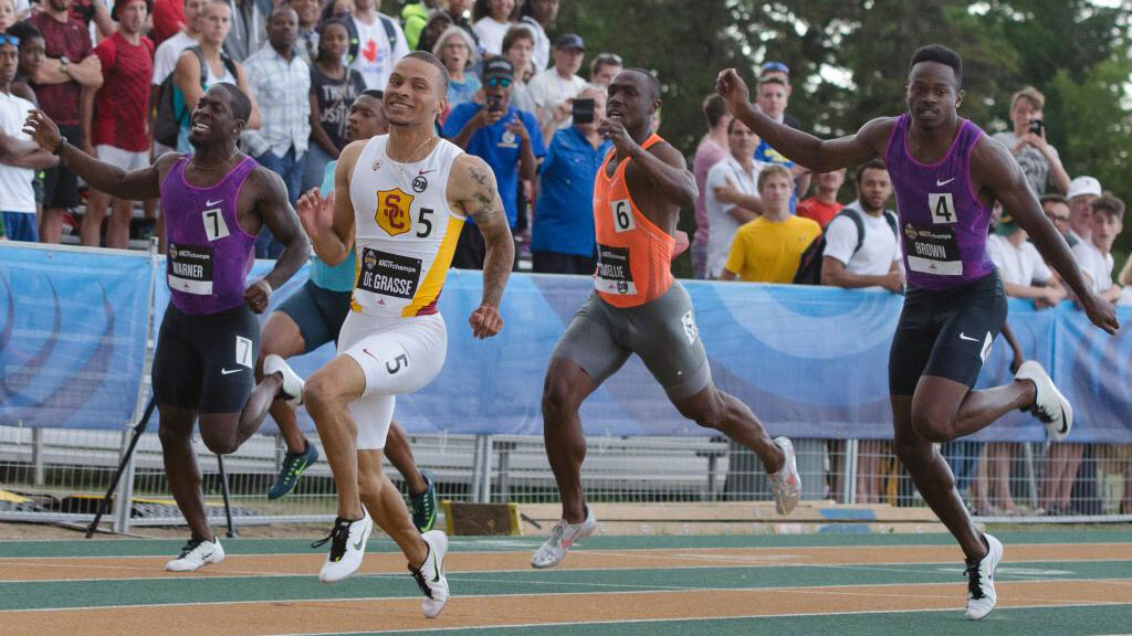 Andre DeGrasse wins the 100m national title in Edmonton on July 3, 2015 ahead of Canadian teammates Aaron Brown (4), Justyn Warner (7) and Gavin Smellie (6). Photo via Athletics Canada.