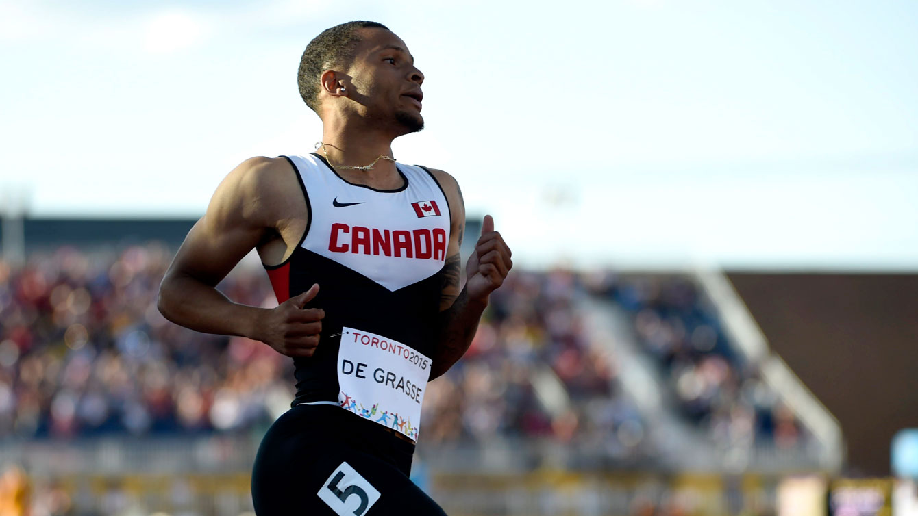 Andre De Grasse during semifinal heat in Pan Am Games 100m on July 22, 2015.