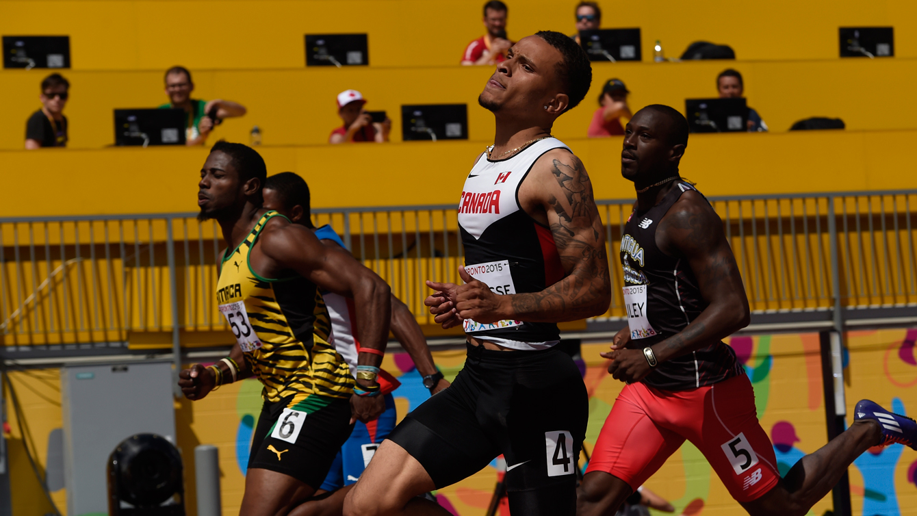 Andre De Grasse flies through the heats at the Pan Am Games on July 21, 2015 in Toronto.