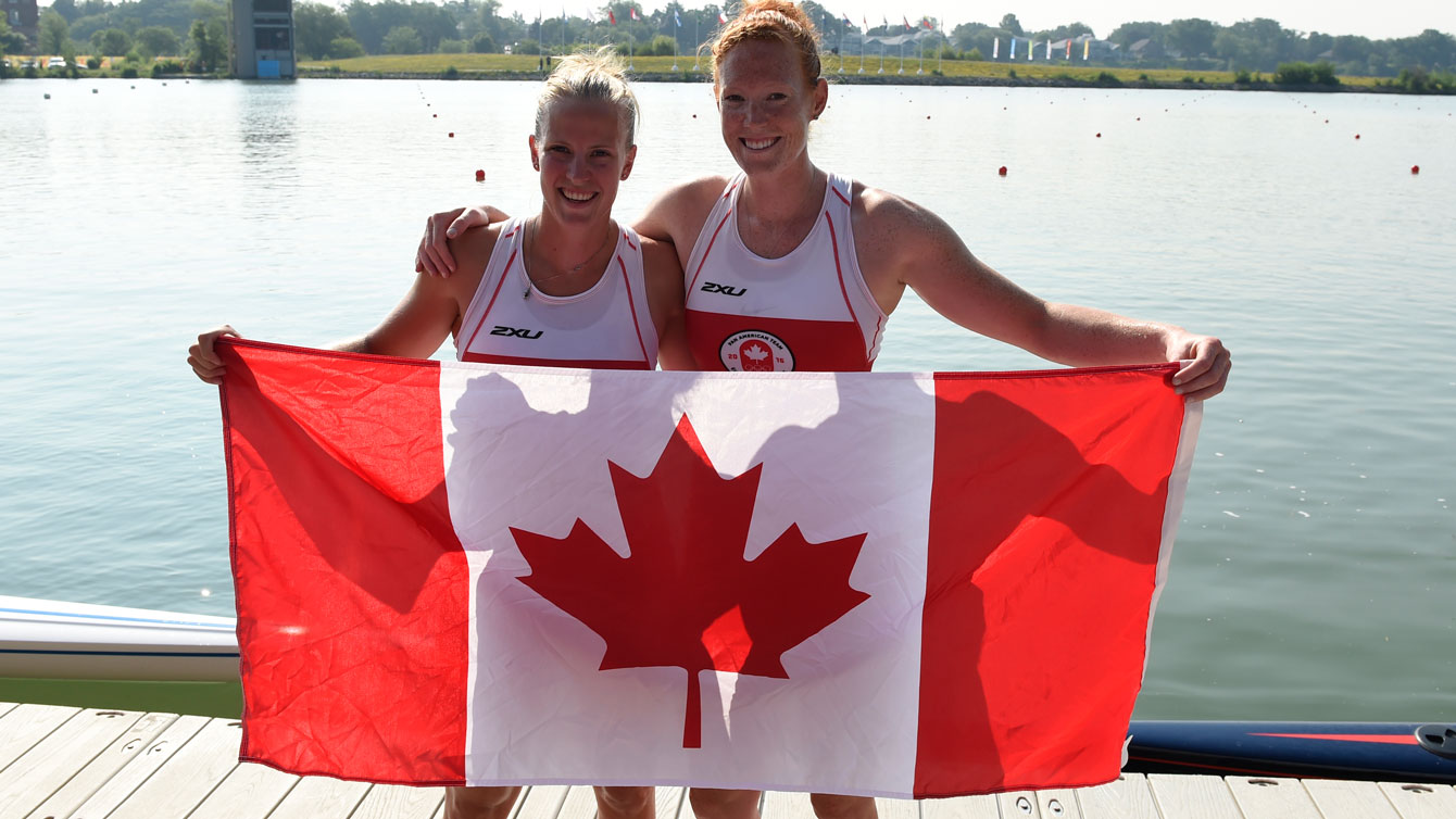 Rosanne DeBoef and Kristin Bauder after women's pair bronze at Pan Am Games on July 13, 2015.