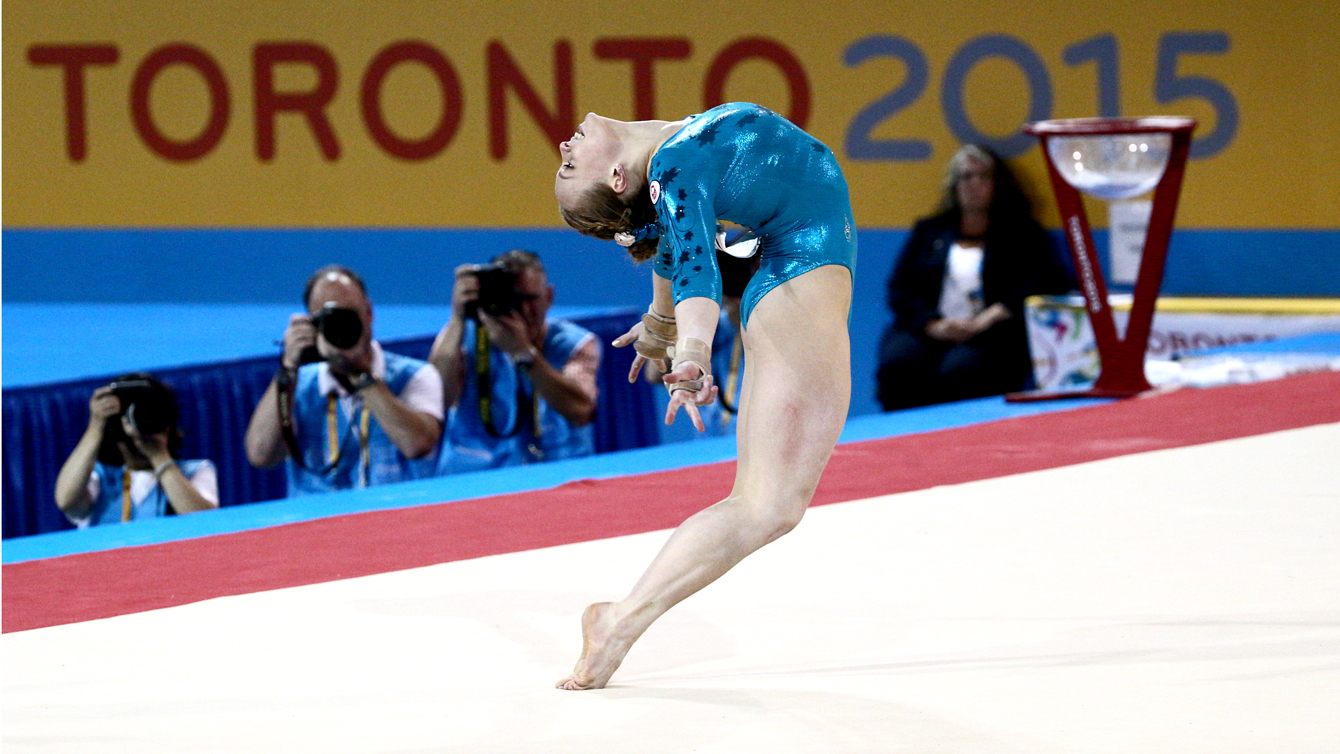 Ellie Black during the floor routine of women's all around at the Pan Am Games, July 13.