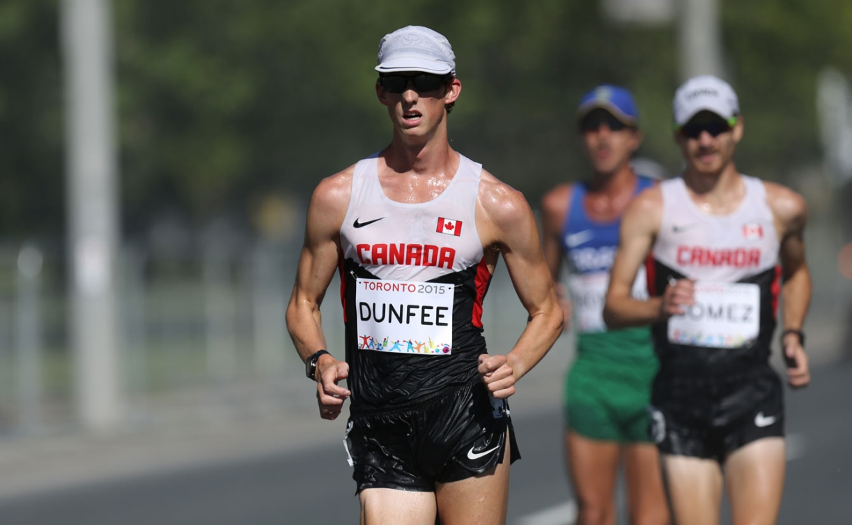 Evan Dunfee finished first and teammate Inaki Gomez came in second in the men's 20km race walk. (Photo: Greg Kolz)