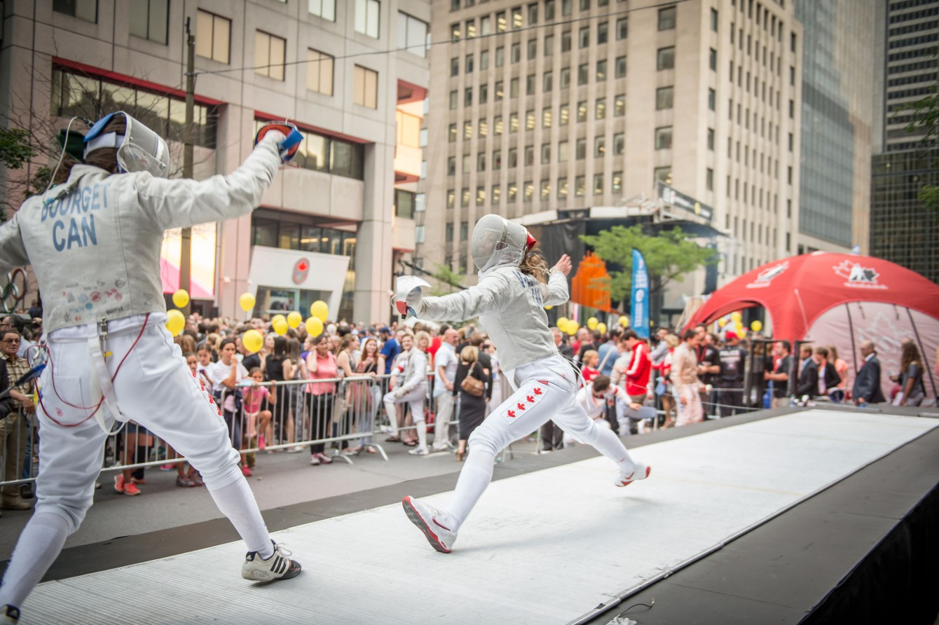 Fencing, one of the several demonstration sports on display at Canada Olympic Excellence Day on July 9, 2015 in Montreal.
