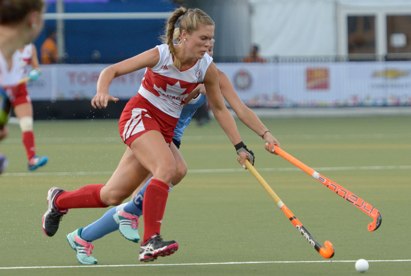 Team Canada women's field hockey team in action against Uruguay