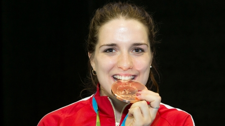Gabriella Page celebrates a Bronze medal in Women's Sabre at the Pan-American Championships