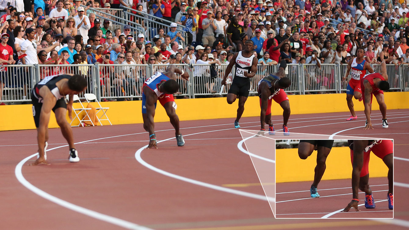 Photo appears to show Gavin Smellie stepping on the line separating lanes seven and eight ever so slightly during men's TO2015 4x100m final. Canada crossed the finish line in Pan Am Games record time, however this singular incident was reportedly protested by three countries that befitted at Canada's expense.