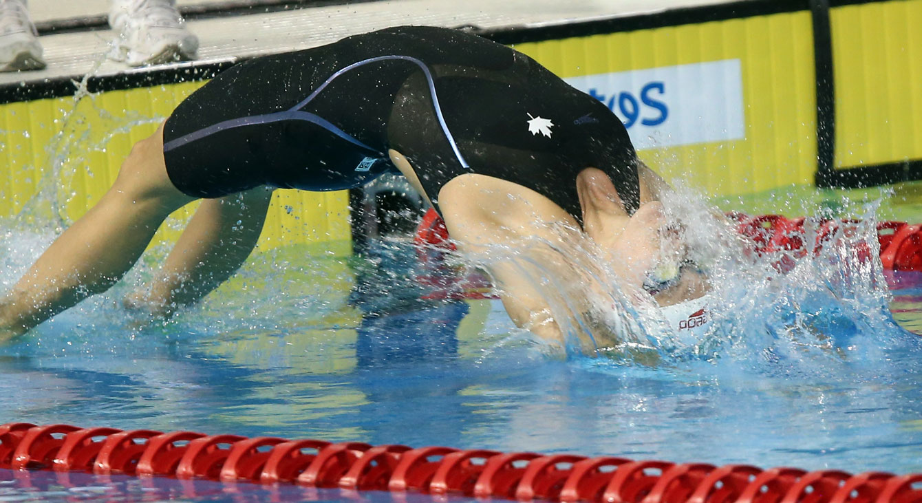 Hilary Caldwell swam to gold in the women's 200m backstroke. (Photo: Scott Grant)