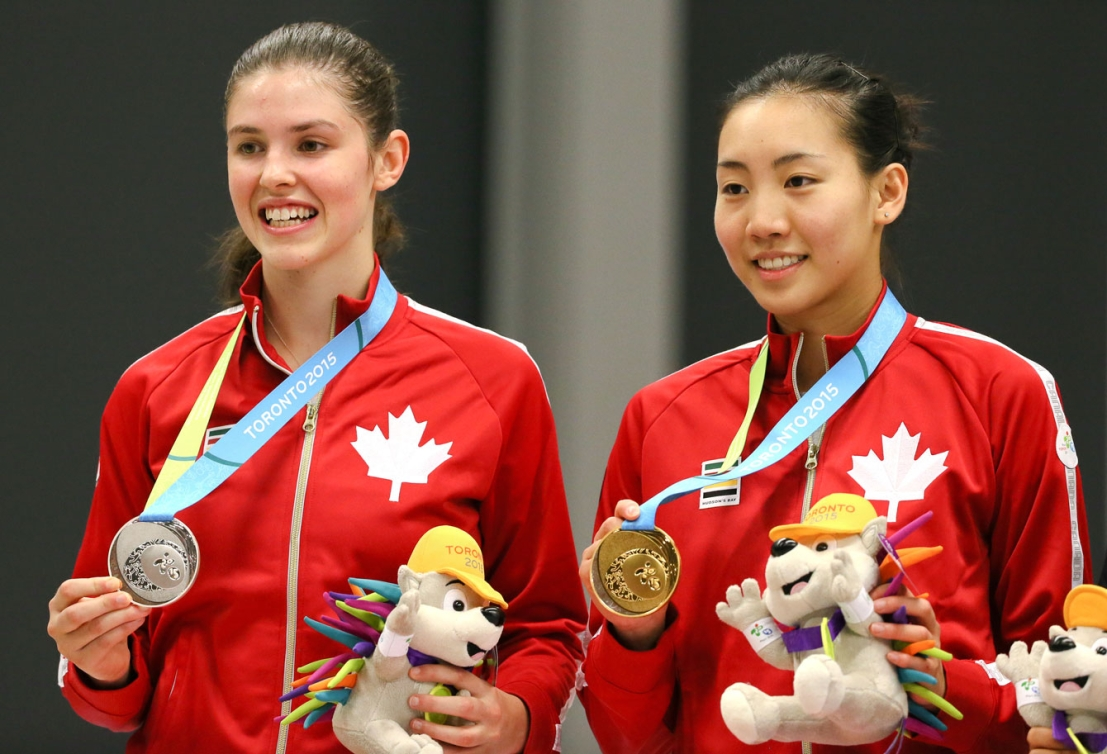 Michelle Li (right) won gold over teammate Rachel Honderich, who took silver, in women's singles. (Photo: Mike Ridewood)
