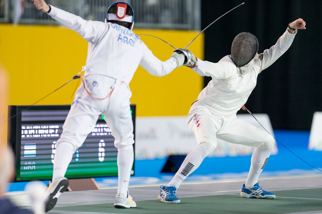 Hugues Boisvert-Simard took home bronze in the individual men's epee at Toronto 2015 on July 21, 2015.
