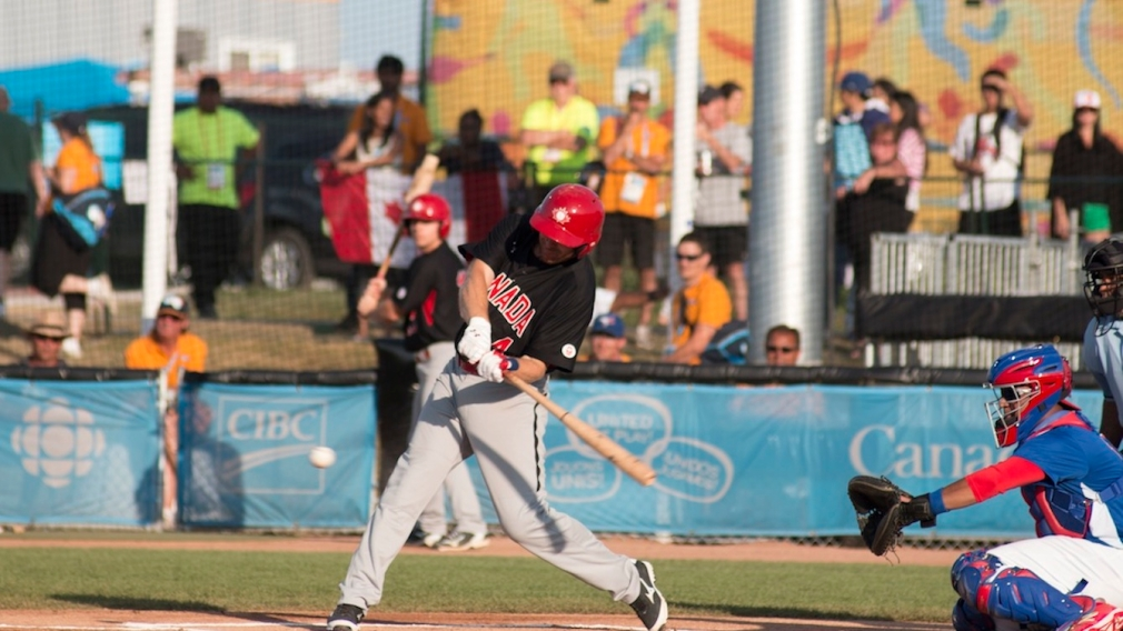 Peter Orr at bat against Puerto Rico