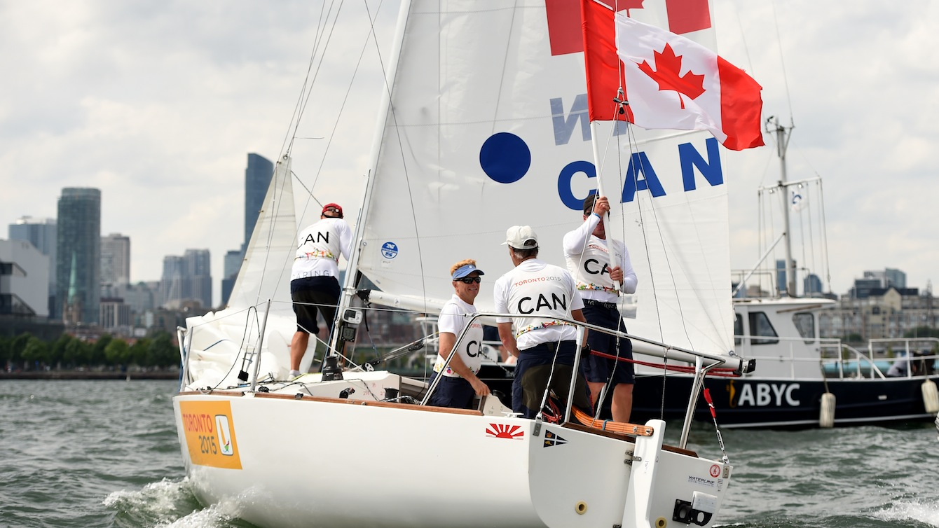 The J24 crew of In the J24 class, the crew of Terry McLaughlin (skipper), Sandy Andrews, David Ogden, and David Jarvis sailed their way to Canada's second sailing silver. (Photo: Jay Tse)