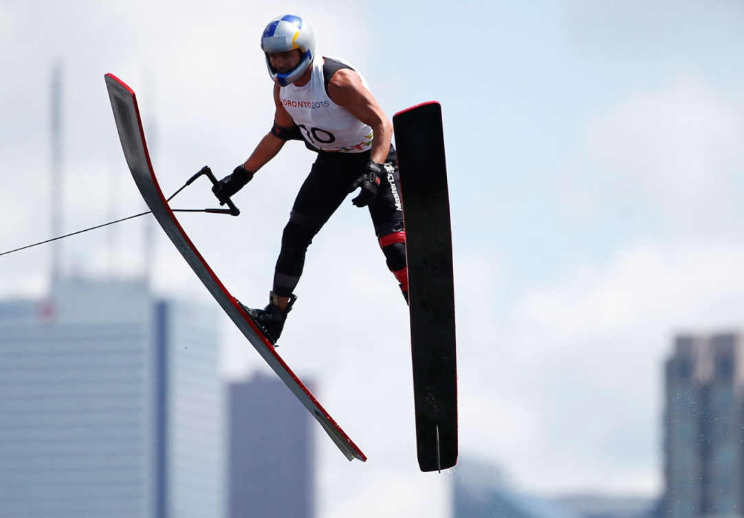 Jaret Llewellyn had the longest jump in the men's overall event, to help him win silver.