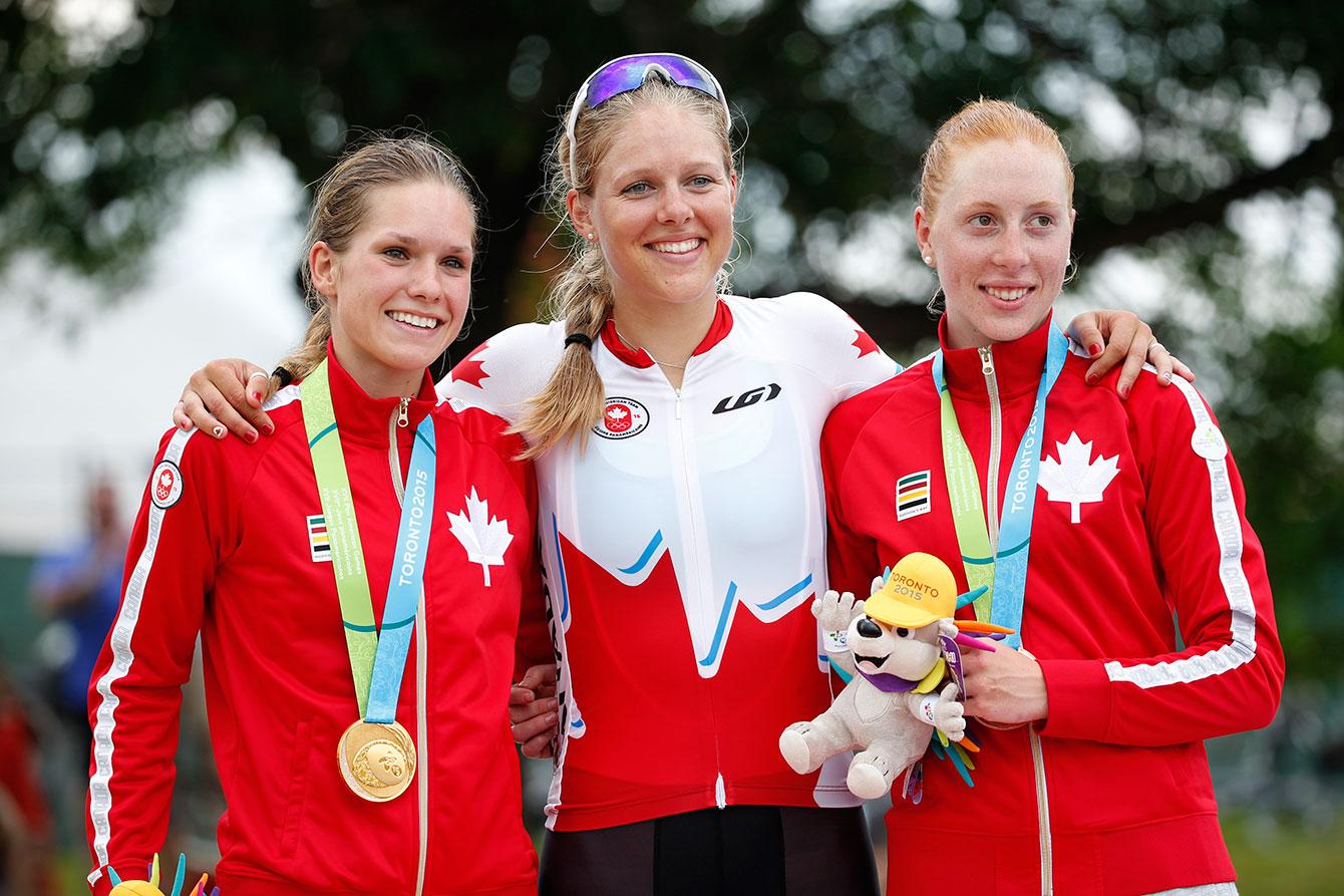 The Canadian road race team from left, Jasmin Glaesser, gold medallist, Kirsti Lay, and Allison Beveridge, bronze medallist.