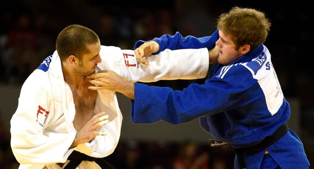 Marc Deschênes action shot in judo