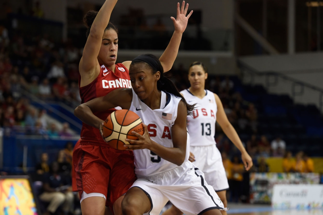 Kia Nurse (left), who is only 19 years-old, led Team Canada in scoring and played shutdown defence the entire game.
