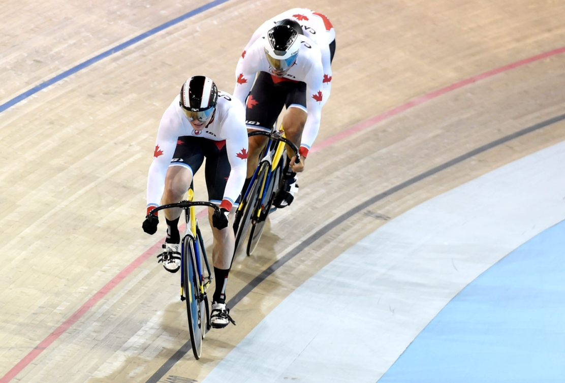 The men's sprint team of Hugo Barrette, Evan Carey and Joseph Veloce rode their way to gold. (Photo: Jason Ransom)