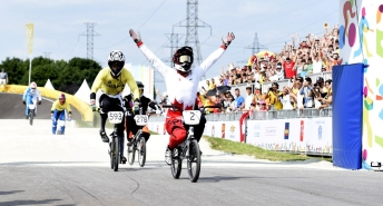 Tory Nyhaug of Canada wins the Gold Medal in Men's BMX