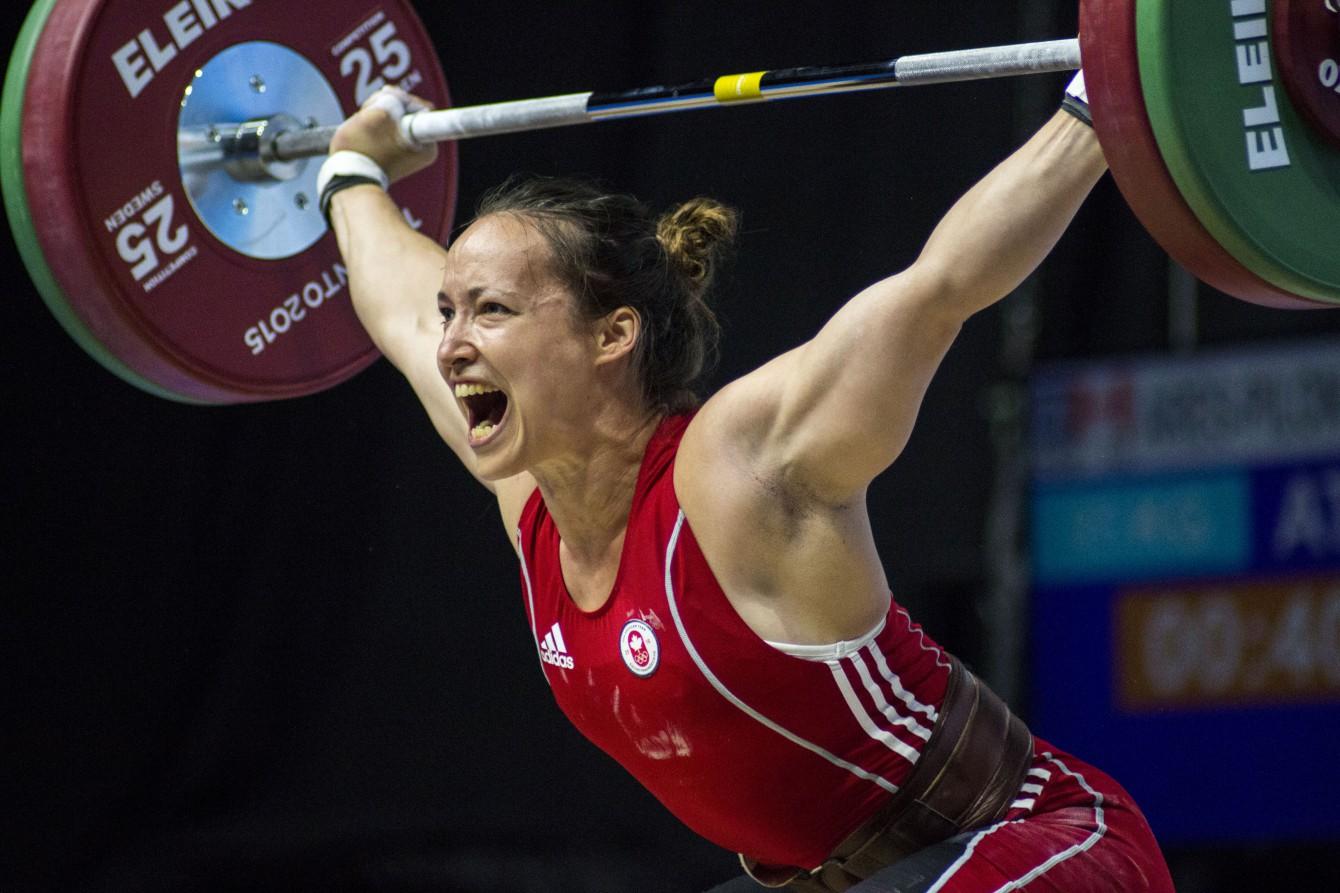 Marie-Josee Ares-Pilon on July 14th in the 69kg category of women's weightlifting (Jeffrey Sze/COC).