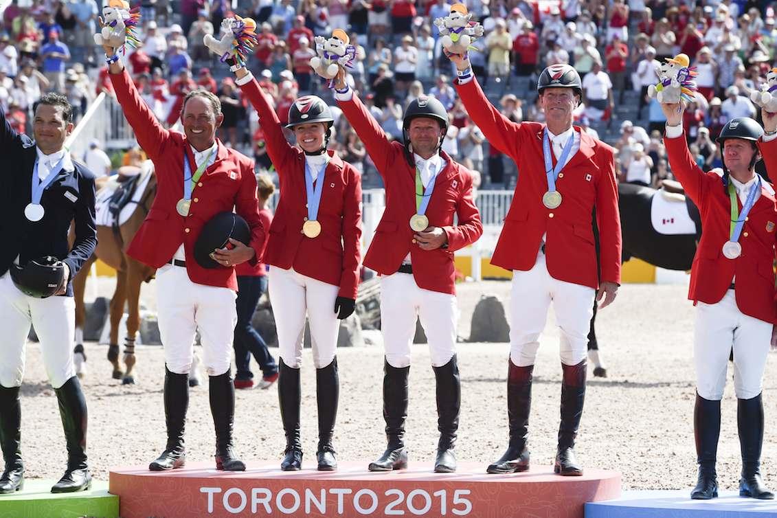 Jumping team (L-R) Yann Candele, Tiffany Foster, Eric Lamaze and Ian Millar.