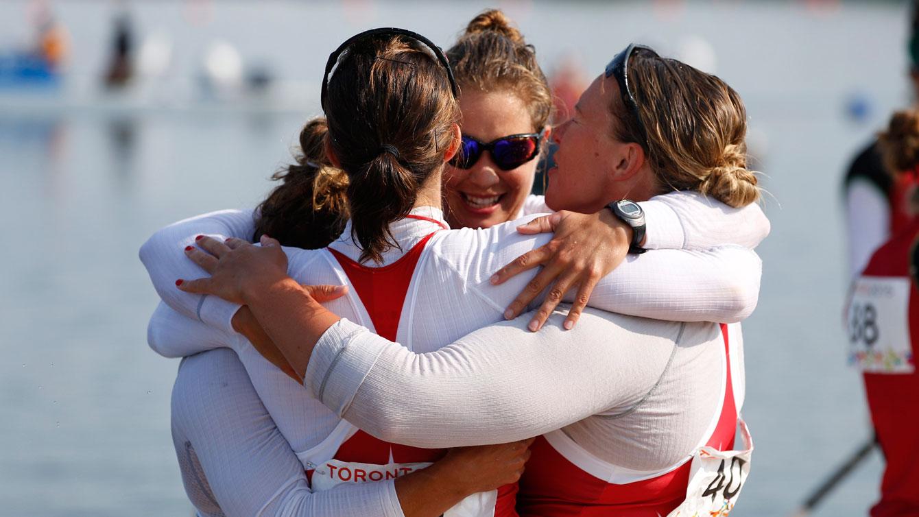 Women's kayak (K4 500m) team celebrates Pan Am gold on July 11, 2015 in Welland, Ontario.