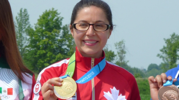 Lynda Kiejko with her 10m air pistol shooting gold medal at the Pan American Games on July 12, 2015.