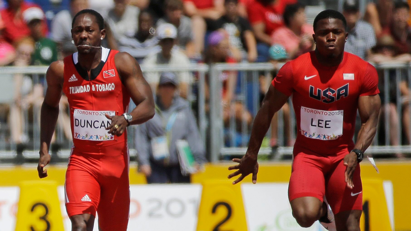 BeeJay Lee of USA wins his 100m heat at the Pan Am Games on July 21, 2015.