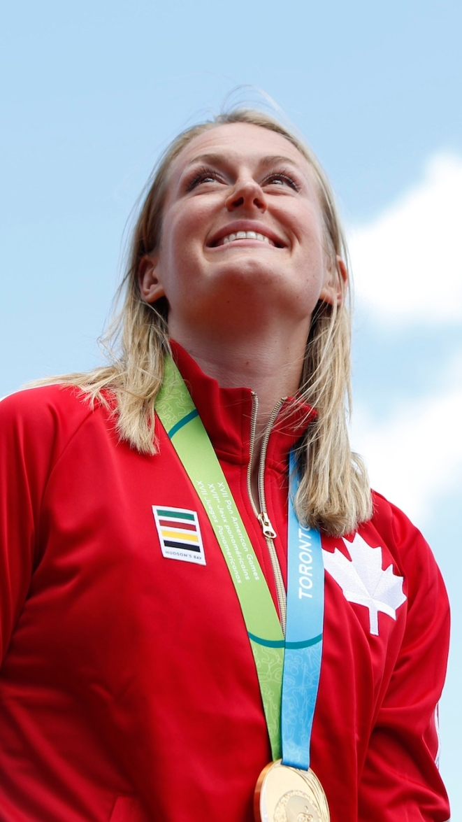 Liz Gleadle celebrates gold in the women's javelin