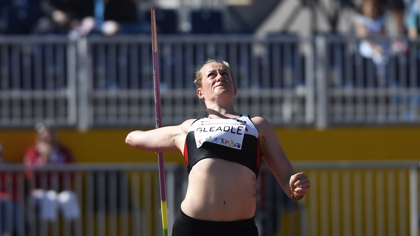 Liz Gleadle competes in the women's javelin at the Pan American Games in Toronto, July 21, 2015. Gleadle wins gold.