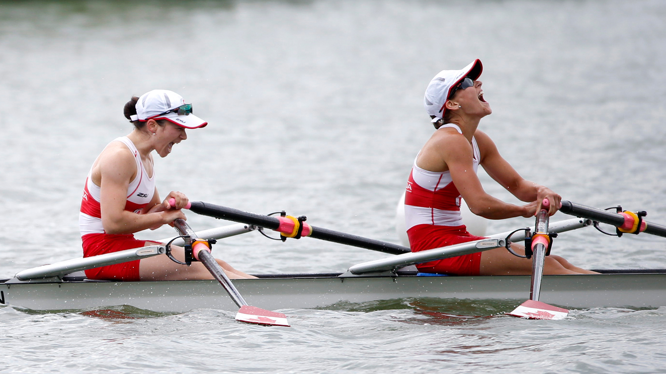 Canada rejoices after winning the women's lightweight double scull at the Pan Am Games July 14, 2015.