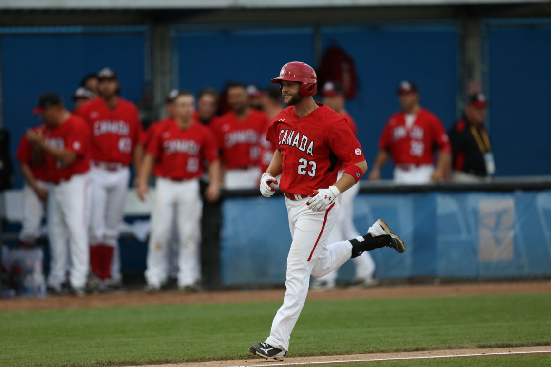Rene Tosoni hit a three-run home run to keep Canada in the gold medal game. (Photo: Greg Kolz)