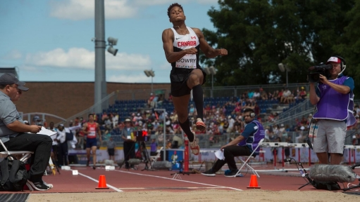 Jharyl Bowery competes in the men's long jump
