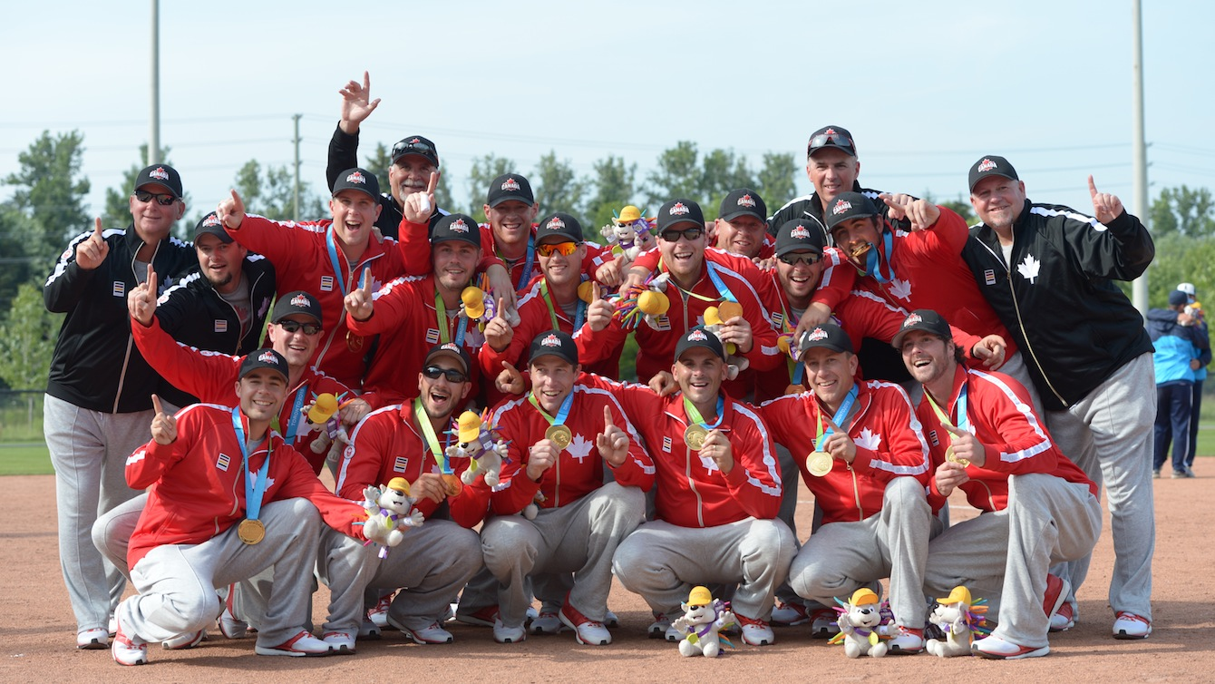 Canadian men's softball team takes gold in the final match against Venezuela.